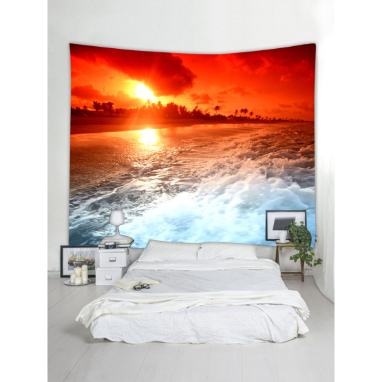 Tapestry Wall Hanging Ocean Beach Sea Wave Series Tapestry Tropical Style Sunrise Tapestry for Bedroom Home Dorm Decor