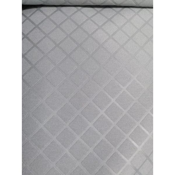 Polyester white check and stripe emboss fabric