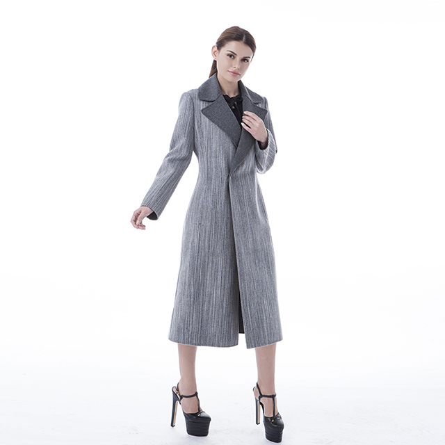 Grey long wool collar cashmere coat