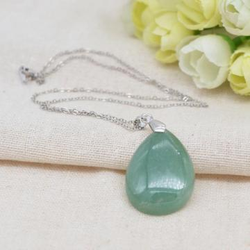 Natural 28x35MM Green Aventurine Waterdrop Pendant Necklace