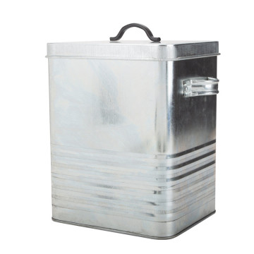 Galvanized pet food storage container
