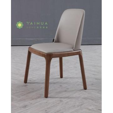 Dark Walnut Solid Wood Dining Chair with Cushion