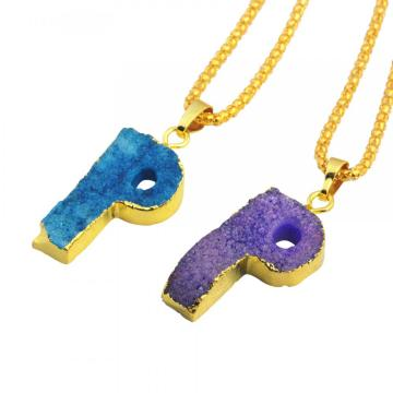 Natural Druzy Crystal Alphabet Letter P Pendants Plated Gold