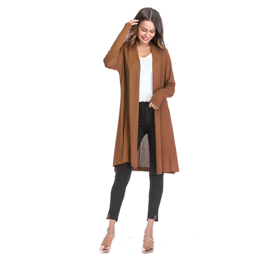 Fancy Knitted Hollow Out Solid Color Shawl Coat