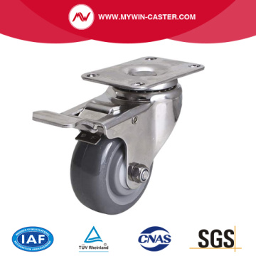 Stainless 3 Inch 80Kg Plate Brake PU Caster