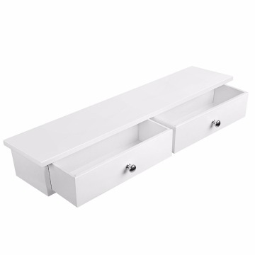 Floating Wall Shelf with 2 Drawers Hallway Storage Shelf MDF Floating Wall Shelf with 2 Drawers Hallway Storage Shelf MDF