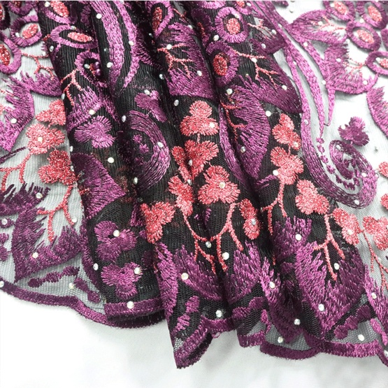 Light Purple Indian Embrodiery Lace Fabric for Dress