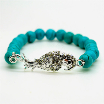Turquoise 8MM Round Beads Stretch Gemstone Bracelet with Diamante alloy parrot Piece