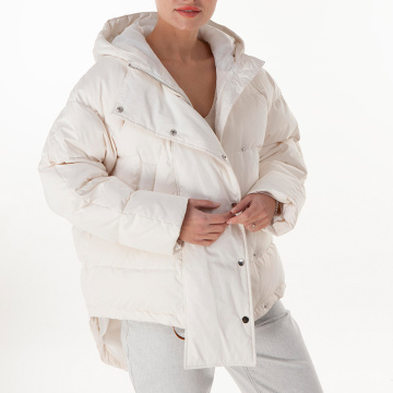 White hooded medium down jacket