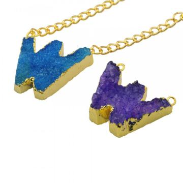 Colorful Crystal Alphabet Letter W Pendant Necklace