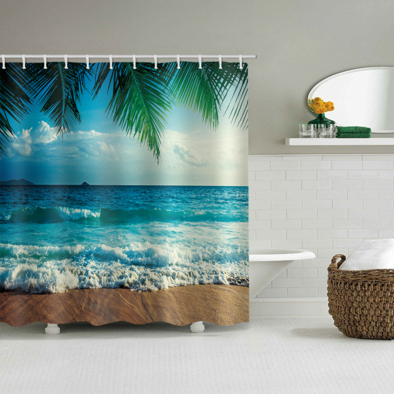 Beach Sea Wave Palms Waterproof Shower Curtain Tropical Style Bathroom Decor
