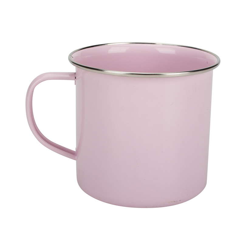 Pink Enamel Coffee Mug