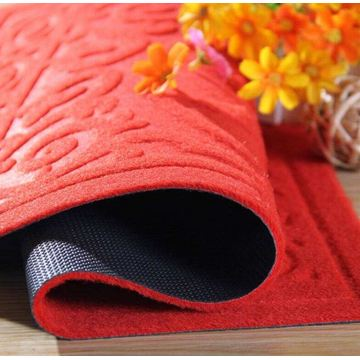 Nonwoven dust control embossed mats pvc backing