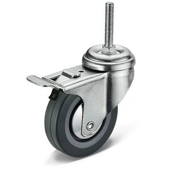 12 Series PVC Screw Movable Double Brake Casters