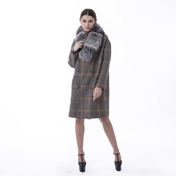Fashion cashmere overcoat with fur collar