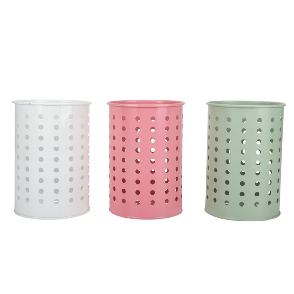 Cylinder Drain Holes Colorful Utensil Holder