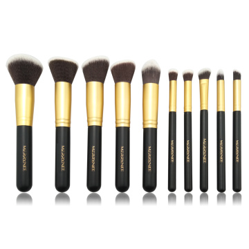 10pc Gold brush set with zipper pouch