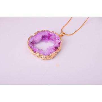 Natural Rose Color Gilding Quartz Crystal Pendant