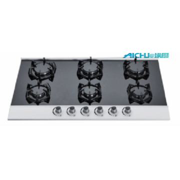 6 Burners Tempered Glass Gas Stove For Restaurant