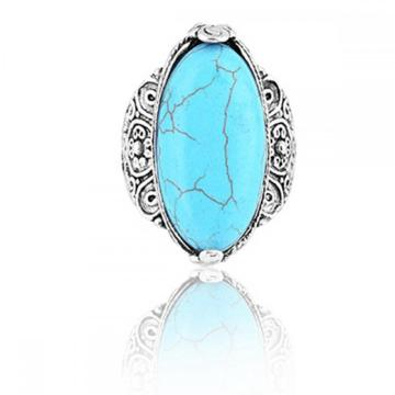 Women's Fashion Oval Zircon Synthetic-Turquoise Ring