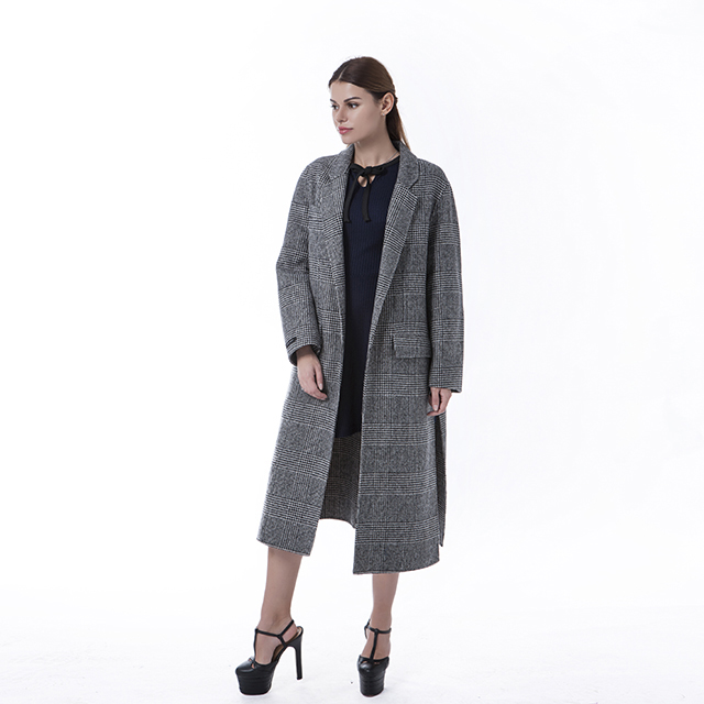 A winter coat with grey stripes