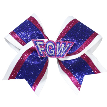low cost custom logo dance cheer hair bows