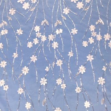 White Crystal Sequin Flower Embroidery Fabric