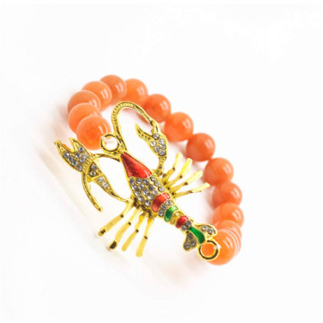 Red Aventurine Gemstone Bracelet with Diamante alloy scorpion Piece