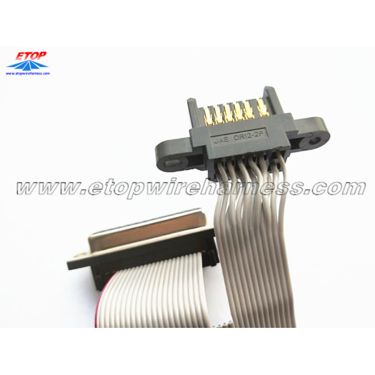 Flat cable assembly with JAE connector