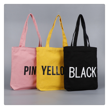 Leather Handle Plain Canvas Tote Shopping Bag