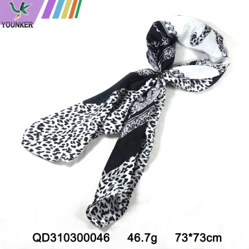 BLACK AND WHITE SATIN SCARF