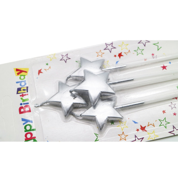 Silver Color 4PCS Per Set Metallic Star Candle
