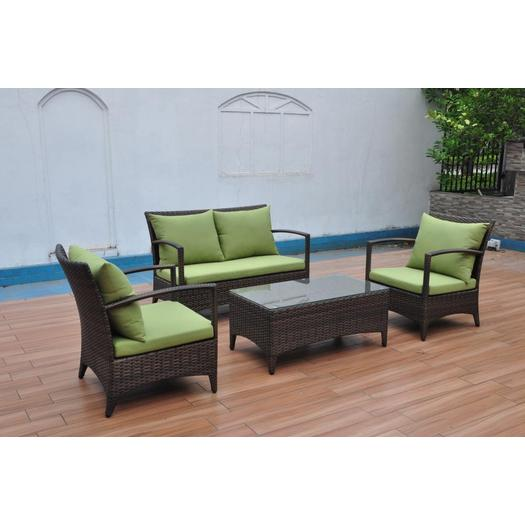 rattan weaving aluminum frame green sofa