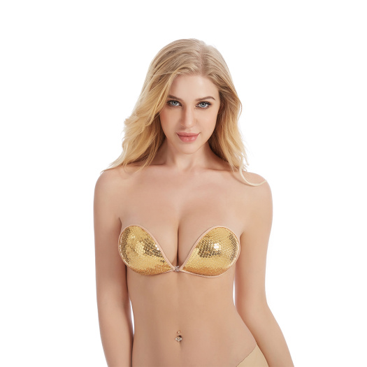 Gold paillette Strapless Bra
