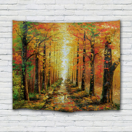 Oil Painting Tree Tapestry Yellow Leaves Wall Hanging Autunm Tapestry for Livingroom Bedroom Home Dorm Decor