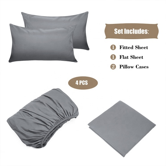 90gsm Polyester Microfiber Sheet Set 4pcs