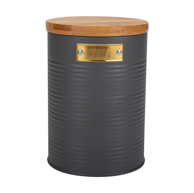 Round bamboo lid canister