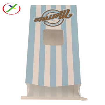 Flat bottom kraft paper bag with window