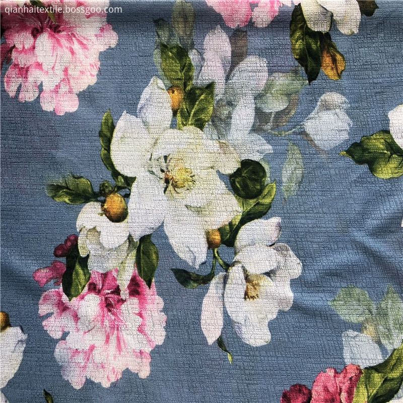 New floral printed twist mesh fabric
