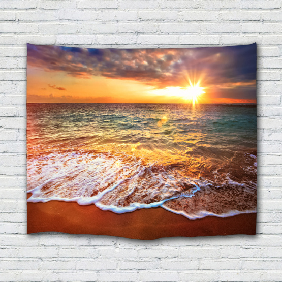 Sea Wave Tapestry Beach Series Wall Hanging Sunrise Dusk Tapestry Tropical Style Tapestry for Bedroom Home Dorm Decor