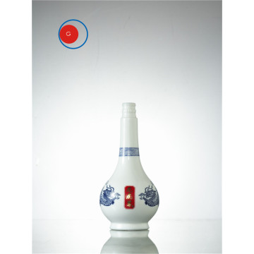 Liquor Bottle White and Blue Porcelain