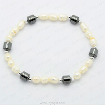 oval shaped pearl hematite bracelet