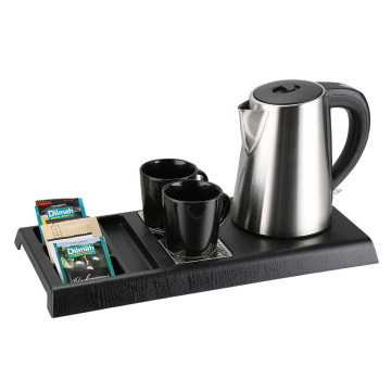 hotel room welcome tray with modern electric kettle