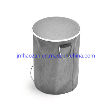 Stainless Steel Foot Pedal Trash Bin, Dustbin with Nylon Leather
