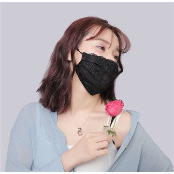 Blakc lace imitation silk mask