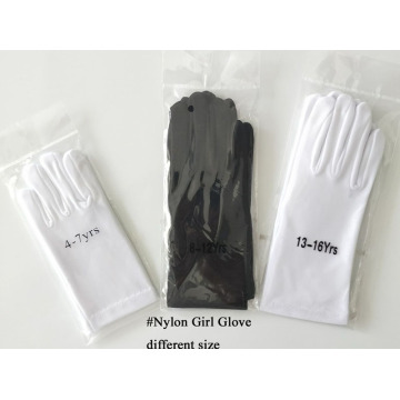 Child`s White Nylon Wedding Gloves