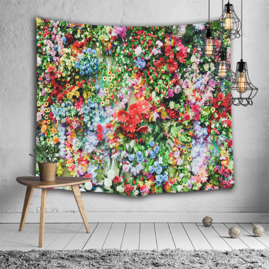 Colorful Flower Wall Tapestry Full Wall Bright Floral Nature Tapestry Wall Hanging for Livingroom Bedroom Dorm Home Decor