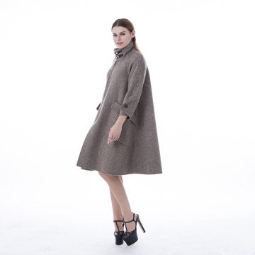 Fashionable camel cashmere coat