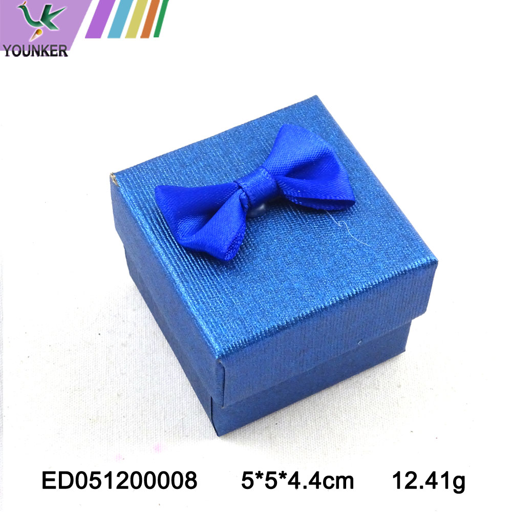 Paper Ring Boxes With Bow Blue
