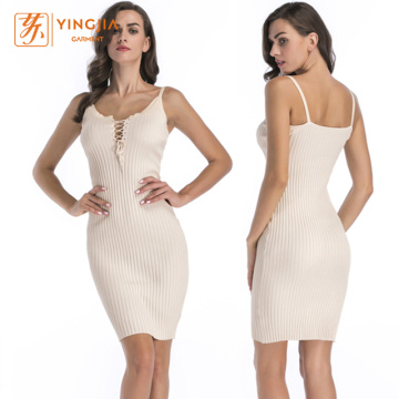 Knitting Deep V Halter Bandage Women Dresses